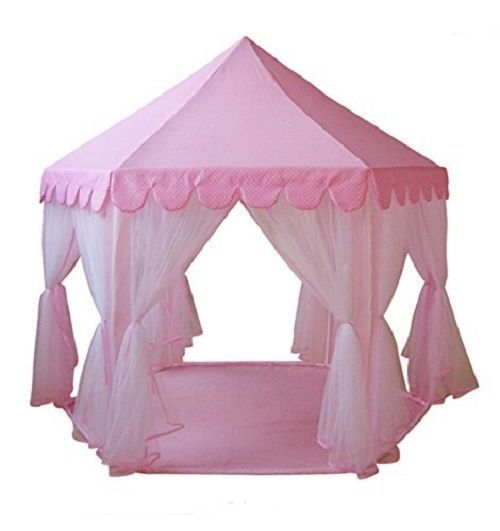Pink princess play tent castle hut fairy house girls large room hexagon gazebo  sc 1 st  Pinterest & Pink princess play tent castle hut fairy house girls large room ...
