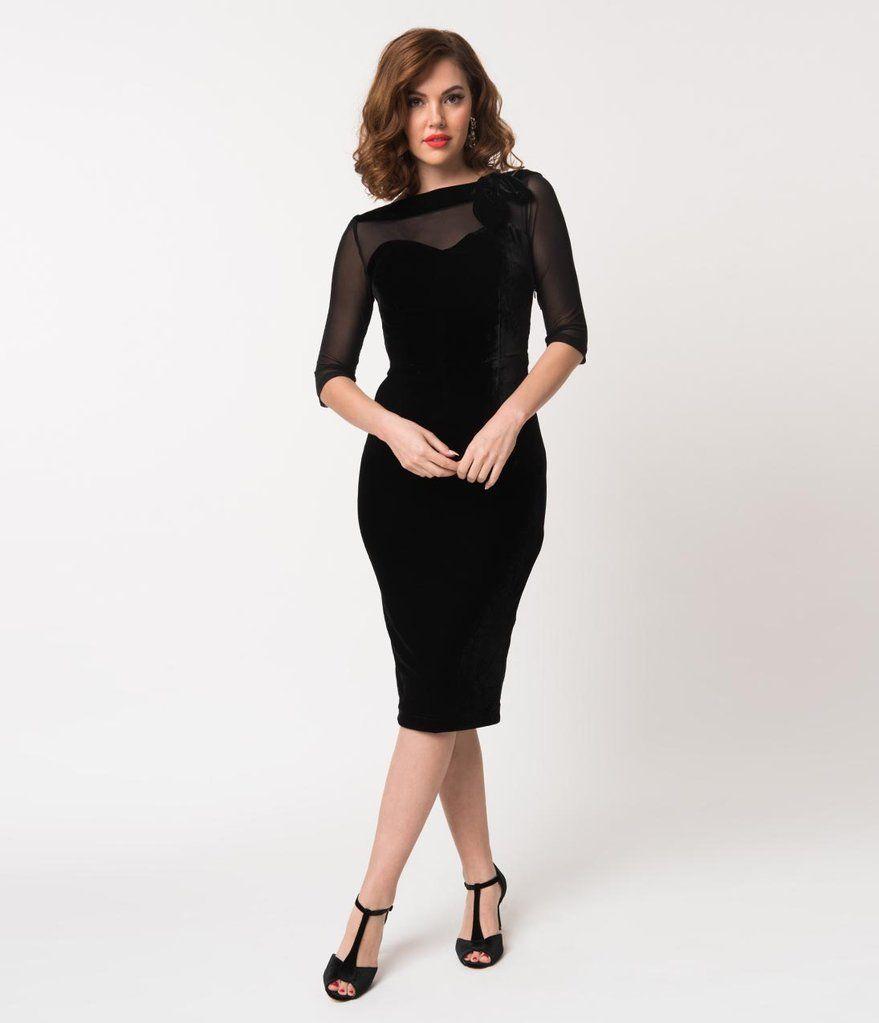 Vintage Diva Black Velvet Sheer Sleeve Evelyn Pencil Dress Black Pencil Dress Dresses Pencil Dress [ 1023 x 879 Pixel ]