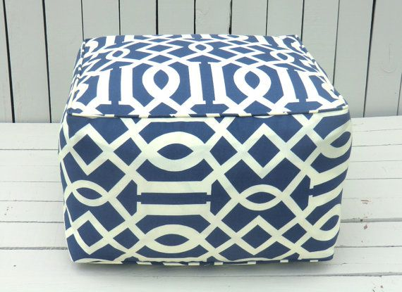 Blue Outdoor Pouf, Square Ottoman , Bean Bag Chair, Blue Outdoor Cushion,  Large