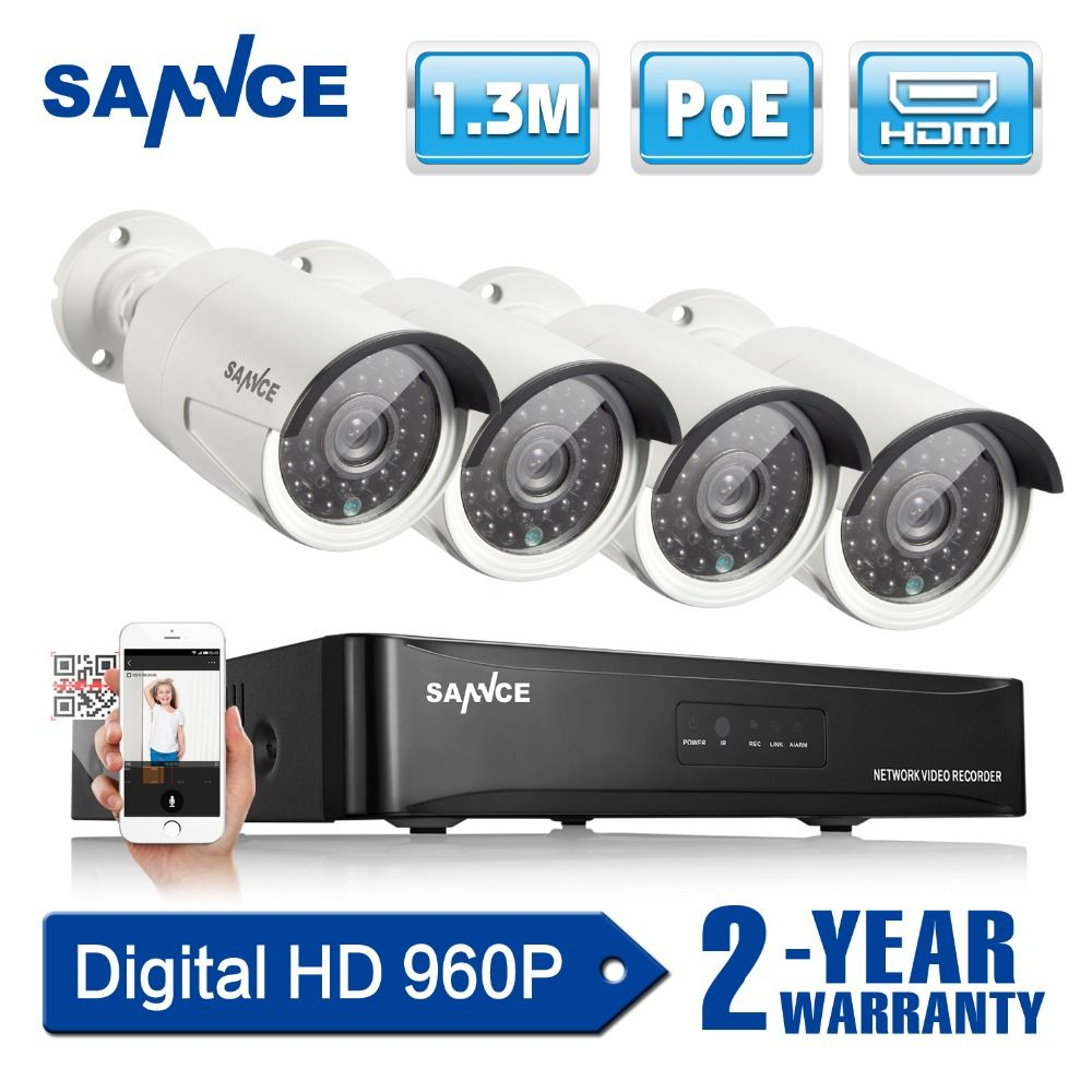 SANNCE 4CH NVR 960P HD 1.3MP PoE IP Network CCTV Security System ...