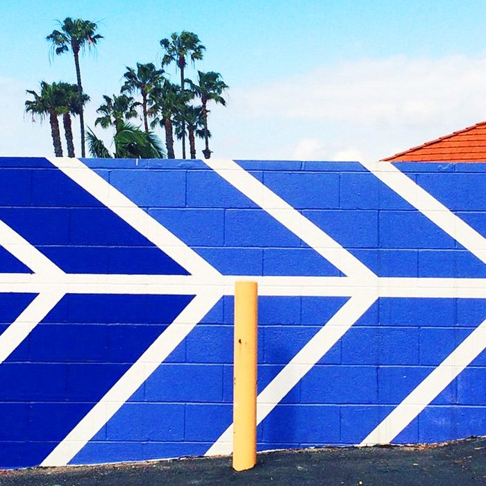 Vibrant and bright painted brick wall with palm trees in background against blue sky // Instagram by @happymundane
