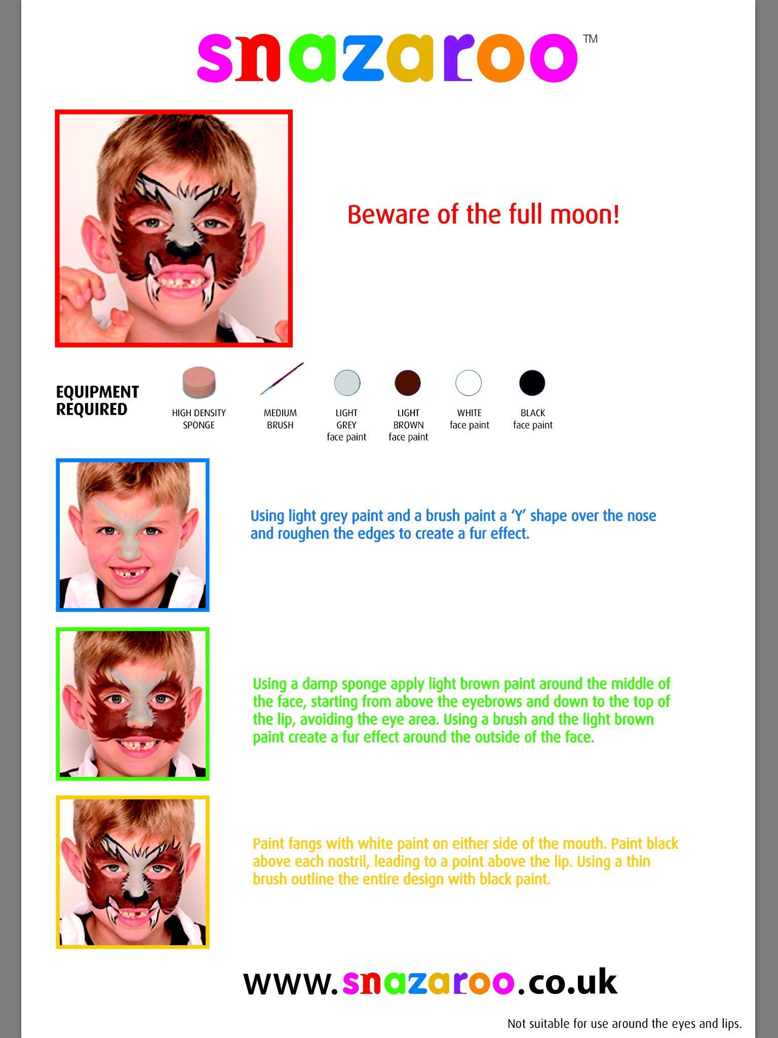 Snazaroo werewolf Face painting, Light gray paint, Brown
