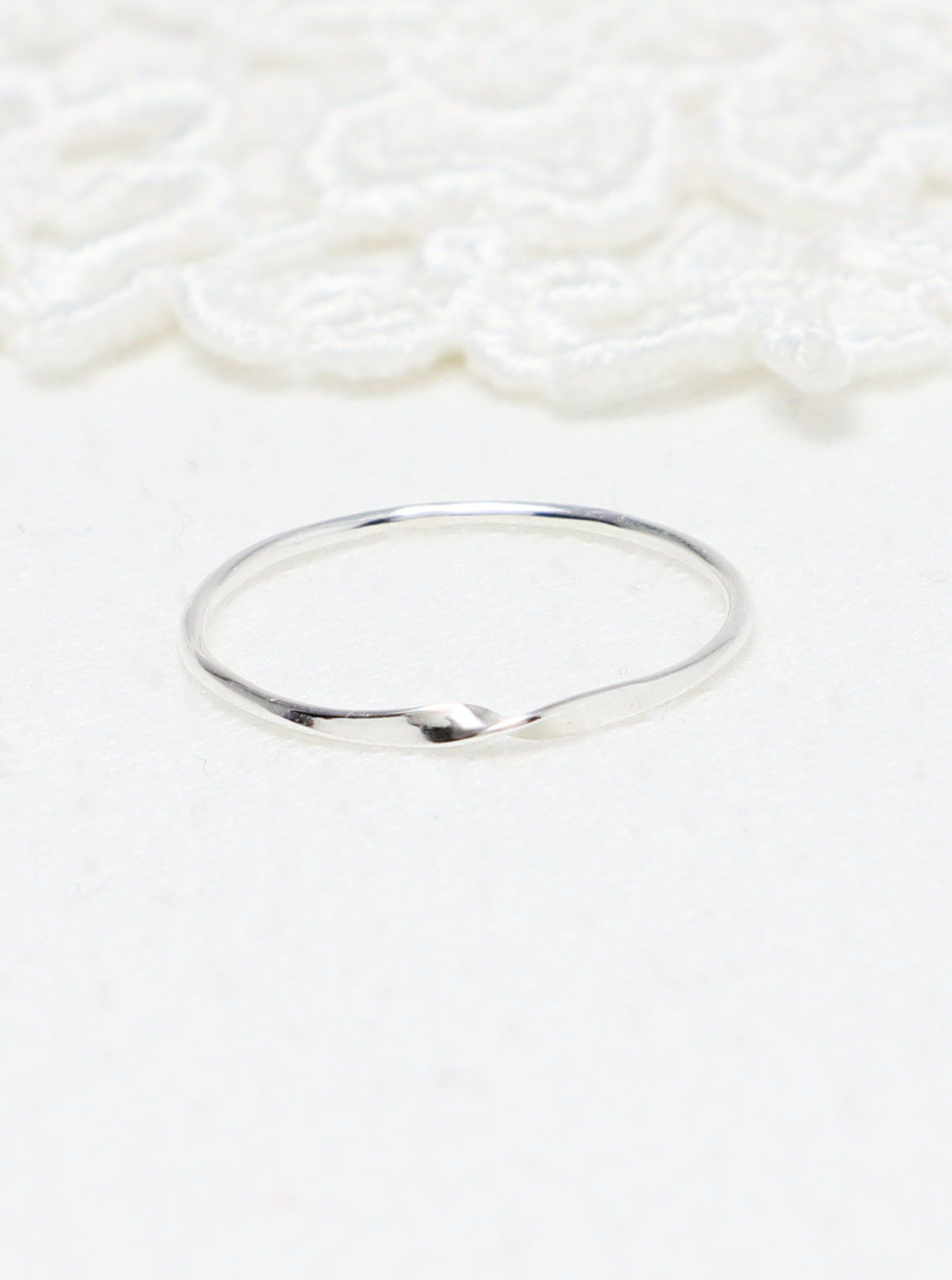 Dainty Rings Silver Simple Super Thin Mobius Ring Design Delicate Rings Mobius Ring Promise Rings