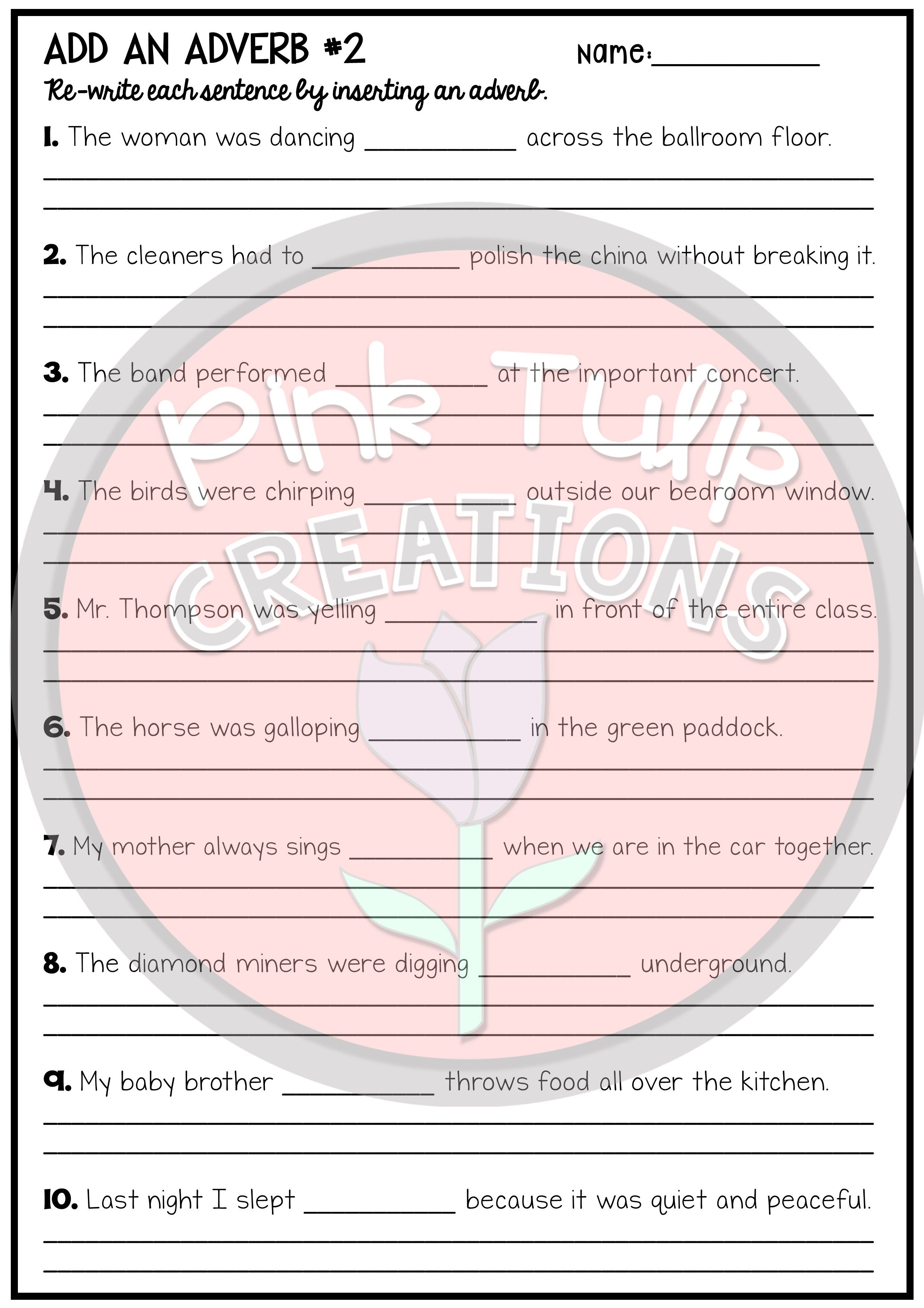 small resolution of Add An Adverb To The Sentences - Worksheet Pack   Adverbs