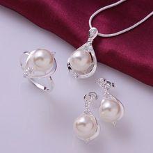 925 joyería de plata esterlina, 925 joyería de plata cristal collar de perlas y pendientes y anillo set de joyas para para SS733(China (Mainland))