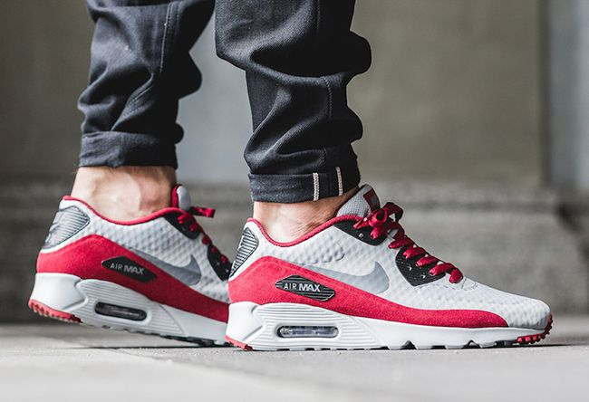 Nike Air Max 90 Ultra Essential Wolf Grey Team Red | Shoes