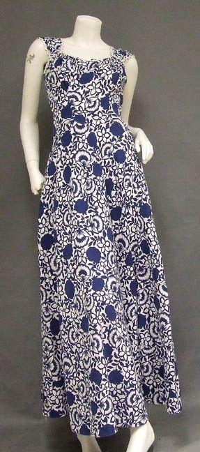 Blue  White Printed Pique 1940's Dress w/ Jacket