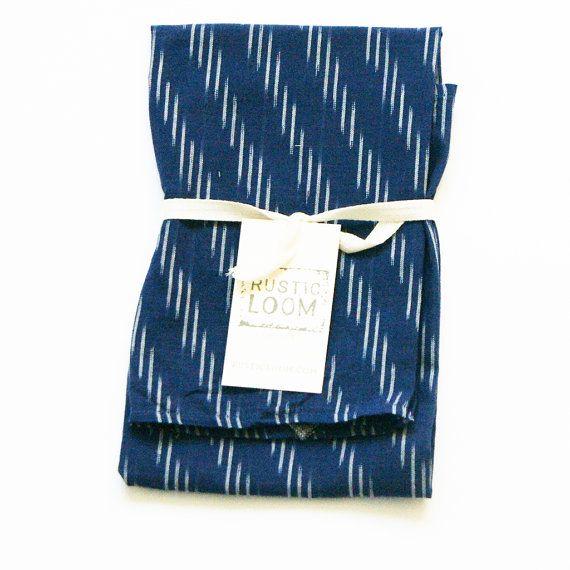 Navy Blue Stripe Kitchen Towel Ikat Tea Housewarming