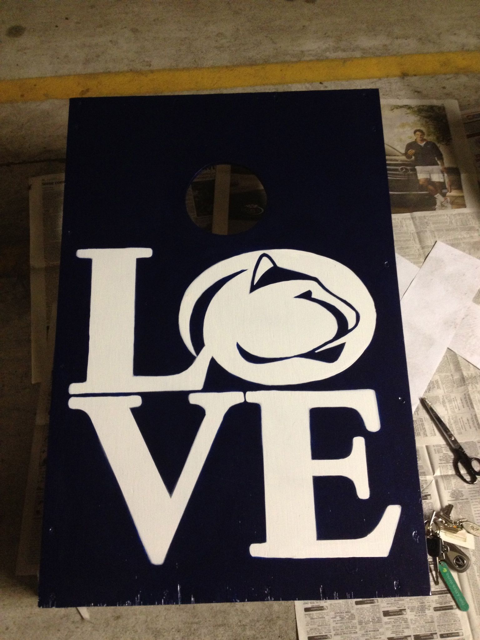 Homemade PSU cornhole board | Cool stuff | State canvas, Cornhole
