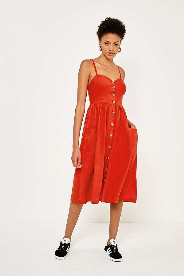 f6d59d7877 Urban Outfitters Emilia Red Linen Button Down Midi Dress