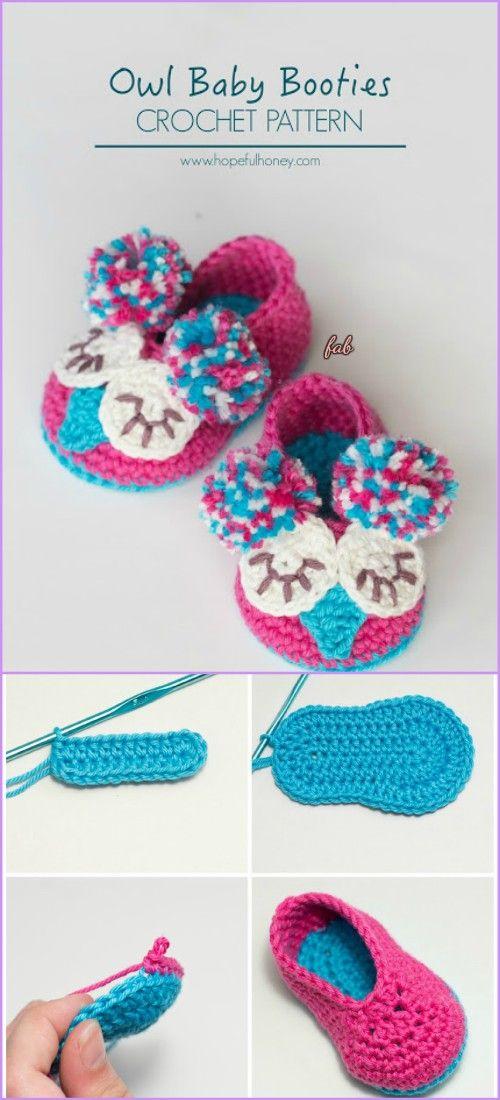 Crochet Owl Slippers Free Patterns DIY Tutorials | Ganchillo, Mis ...