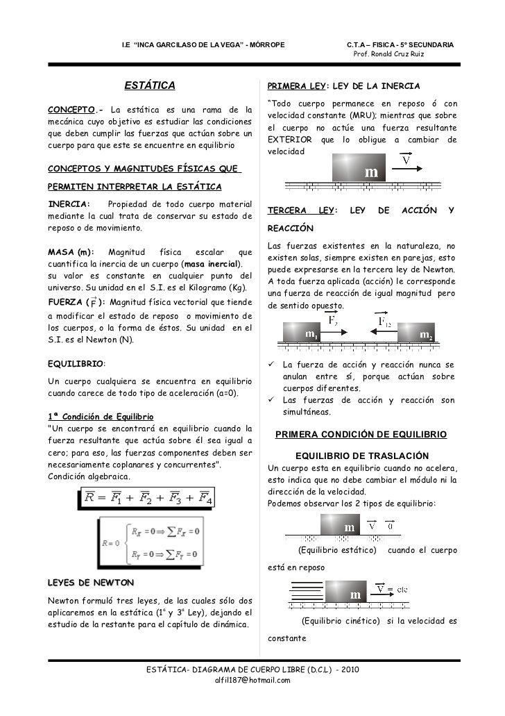 ESTÁTICA - DIAGRAMA DE CUERPO LIBRE D.C.L | física | Pinterest ...