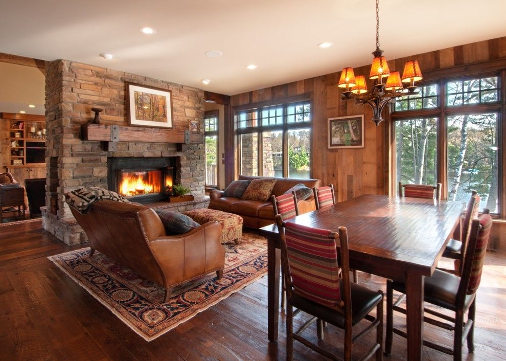 rustic fireplace mantels Living Room Rustic with Barnboard cabin dark wood dark…