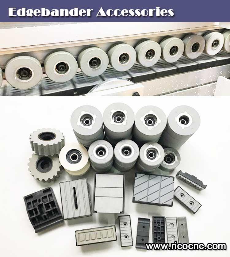Edgebander pressure rollers, conveyor chain track pads for