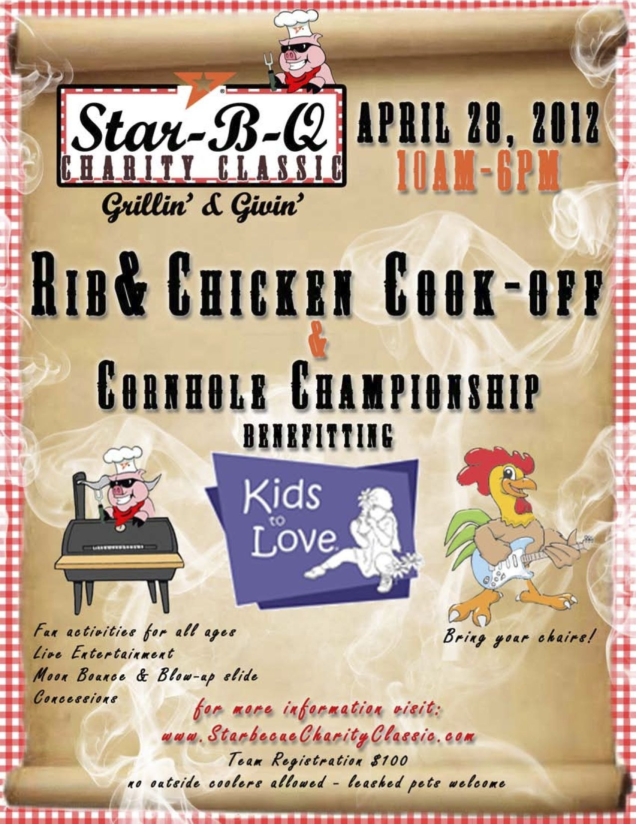 Star-B-Q for Kids to Love!!!!    Mark your calendars for April 28!   We have room for 16 BBQ teams left & we need local bands that want to share their talent on our stage!!!  e-mail us! ksmith.star@gmail.com