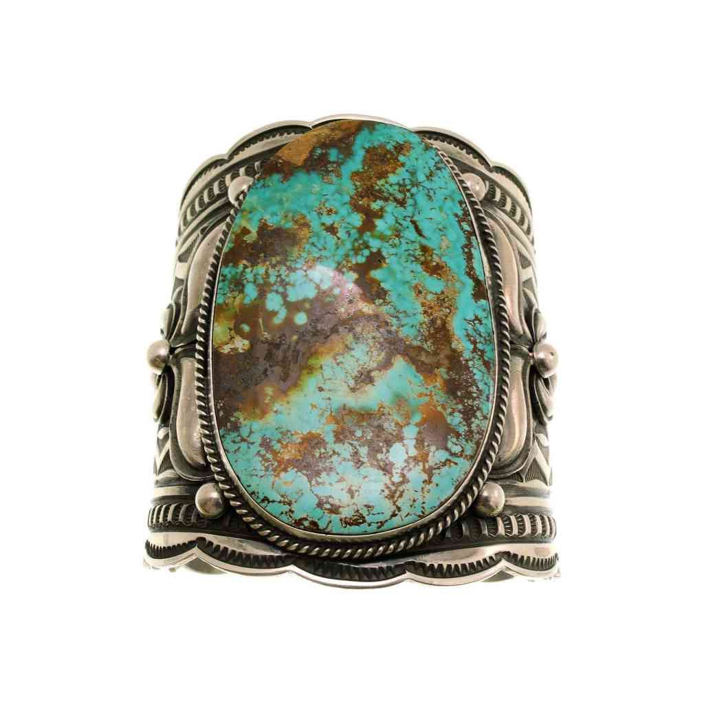 Perry Null Trading: Andy Cadman, Large Bracelet, Pilot Mountain Turquoise, Navajo, Silver