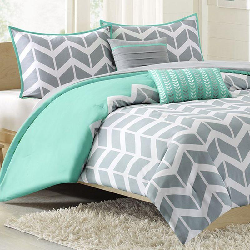 Nadia Chevron Print Twin XL Comforter Set Teal