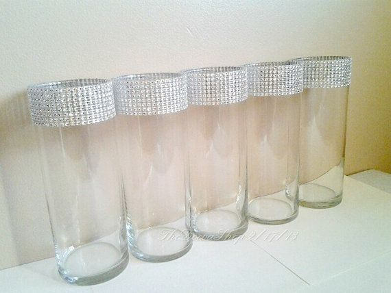 Centerpiece Cylinder Vase Lot Silver Bling Rhinestone Diamond