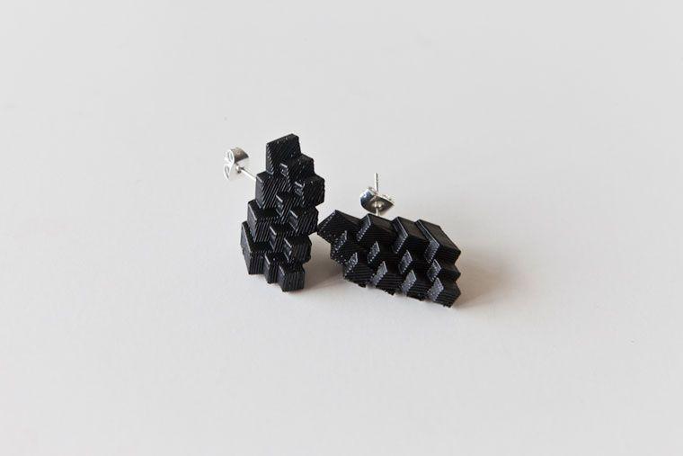 #3dPrinted Earrings Onyx $29