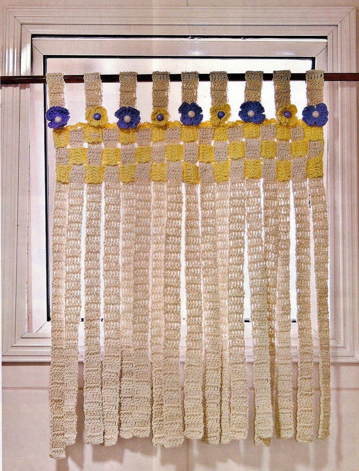 Croche com receita cortinas em croche tiras com flores for Cortinas para aulas