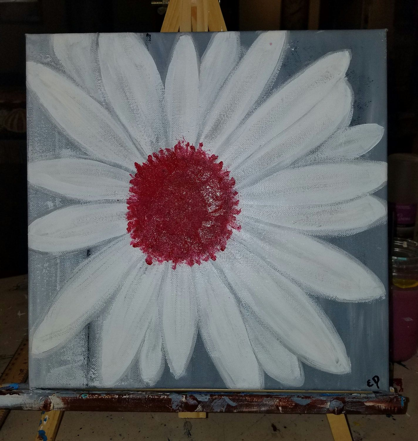 12X12 Canvas Painting Daisy Vibrant Red Center Home Decor White