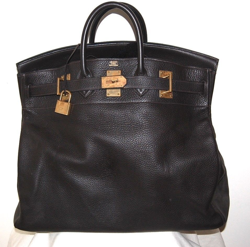 Rare Vintage HERMÈS France Brown 46cm Berkin Togo Leather XL Travel Handbag 50a006d7d78b