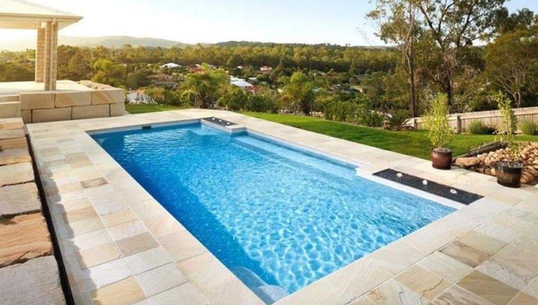 Paving round pool Cool swimming pools, Swimming pools