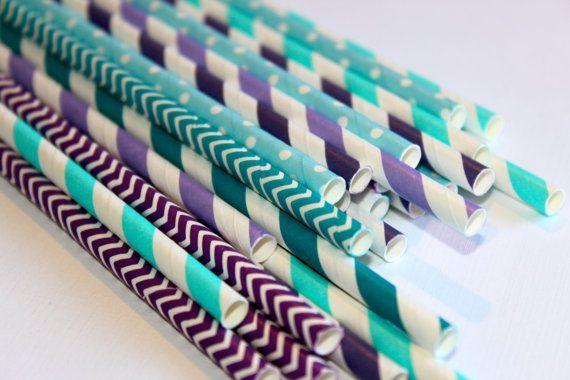 24 mermaid under the sea purple teal chevron polka dot dotted graduation striped stripes paper straw first birthday party bridal baby shower images