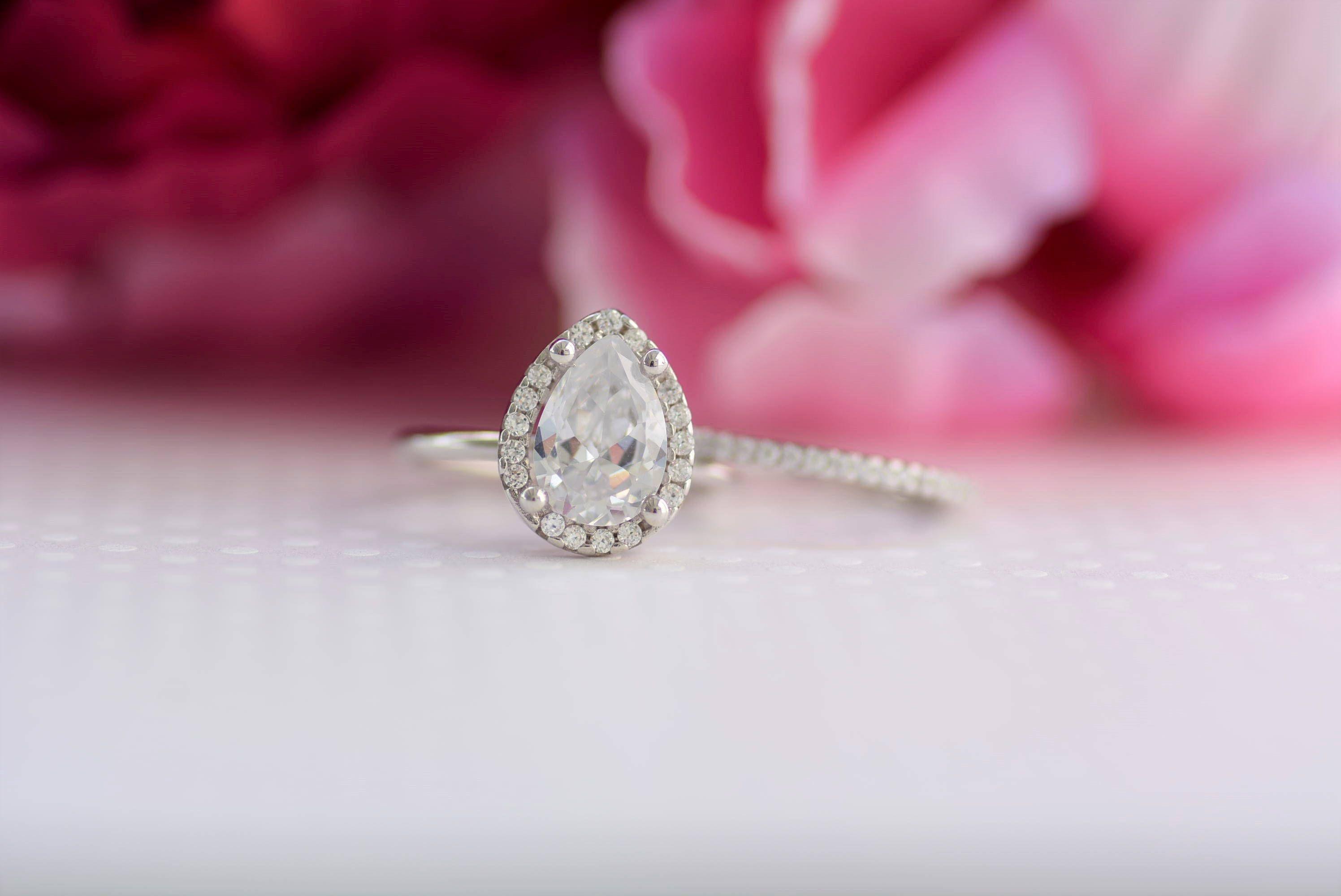 Sterling Silver Ring Set. Wedding Ring Set. Teardrop Ring. Eternity ...