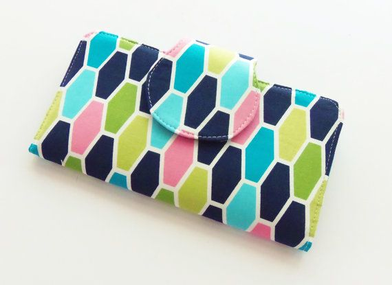 Wallet / Womens Wallet / Checkbook Wallet / Cell Phone Wallet / Passport Wallet / Credit Card Wallet / Pink Navy White / Technicolor on Etsy, $35.00