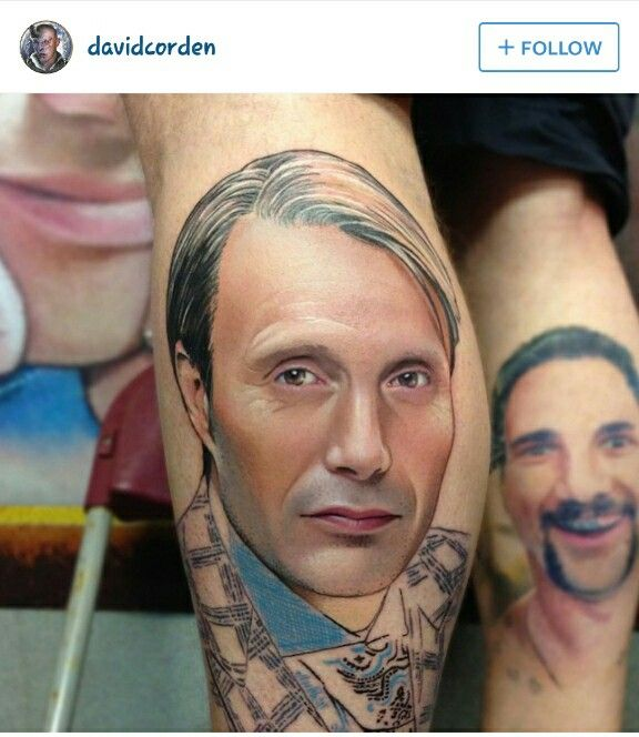 A Tattoo Of Mads Mikkelsen As Hannibal Amazing Hannibal Tattoo Tattoos Portrait Tattoo