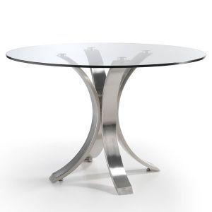 Mesa de Comedor Redonda Cristal Acero | base para mesa de vidrio ...