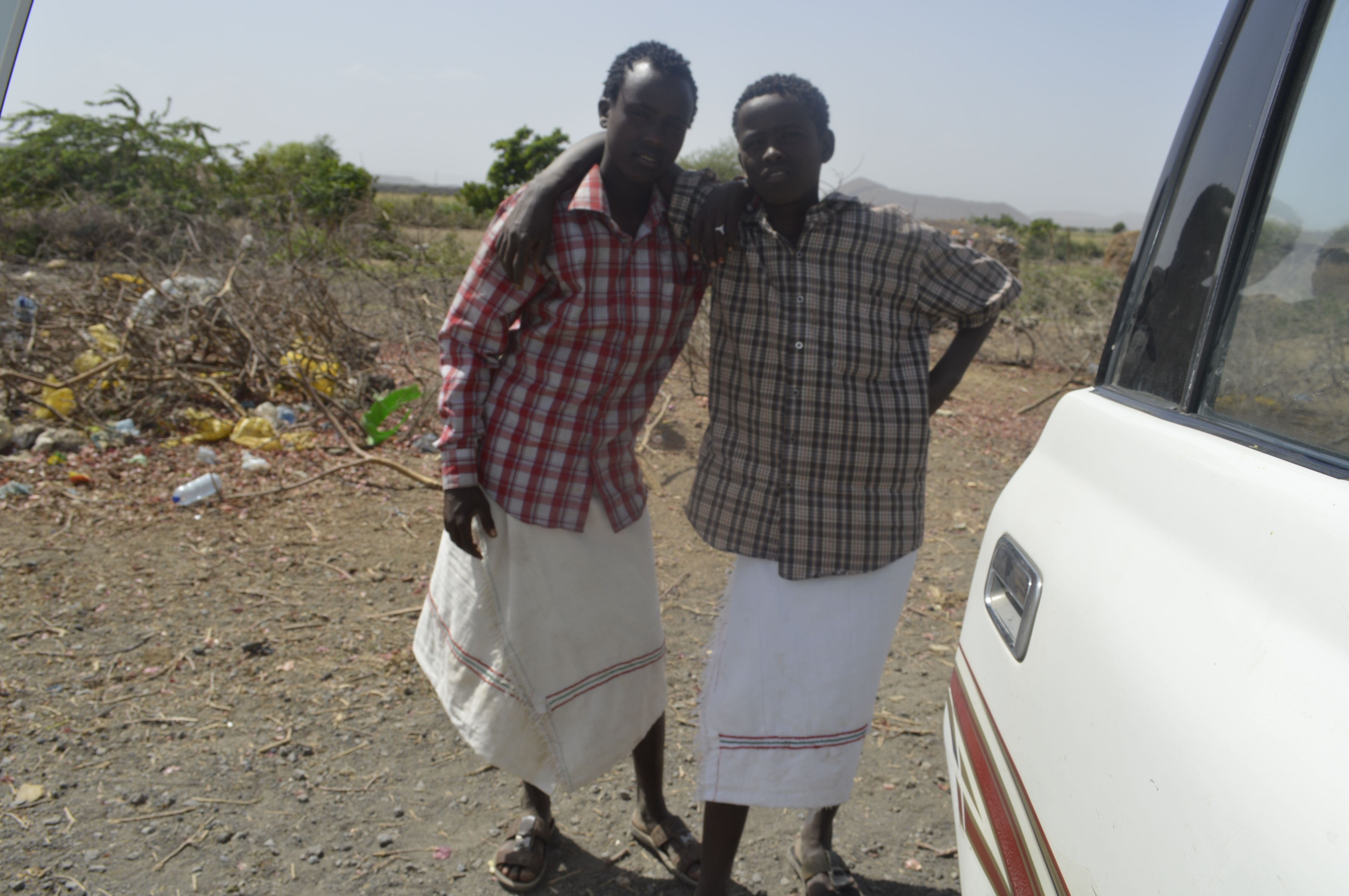 Two Afar men in the wilderness...traditional attire.