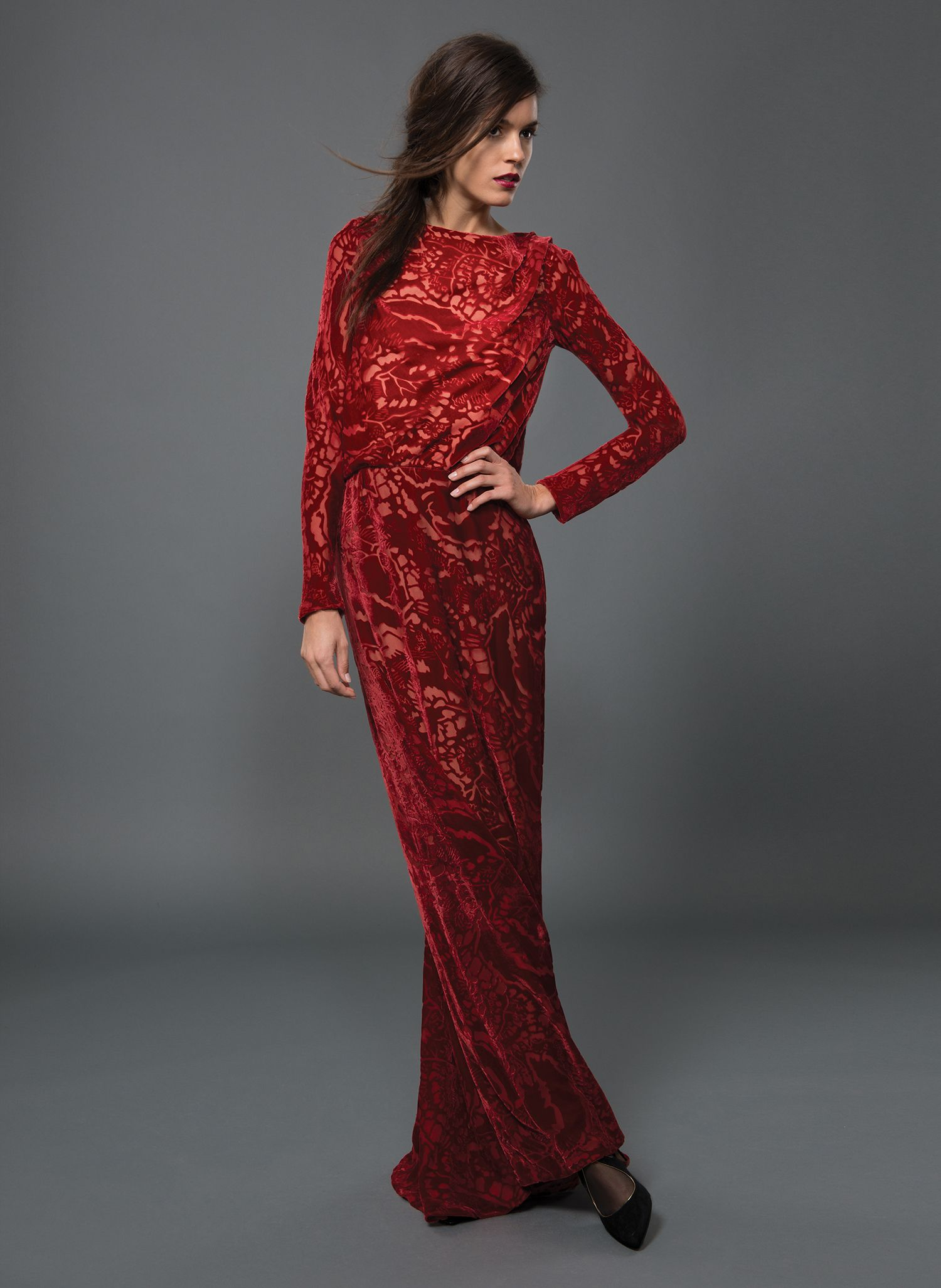 Washed Velvet Draped Front Long Sleeve Gown with Beaded Lace Inset ...