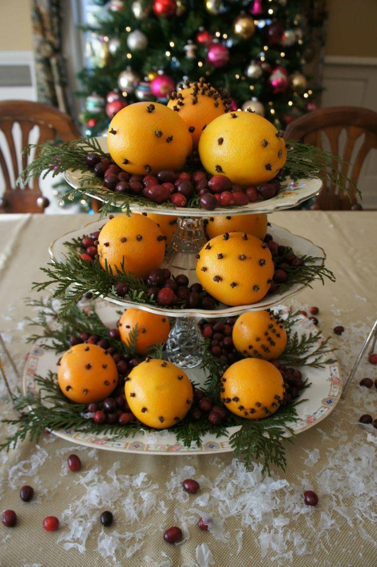 Winter Tischdeko Selber Machen Orangen Deko Idee Dessert Staender