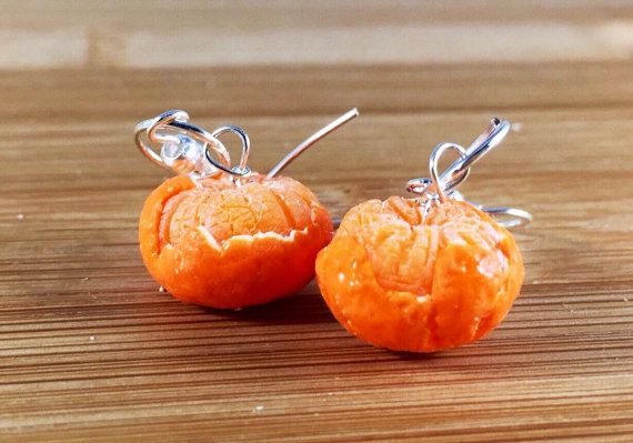Polymer clay miniature realistic clementine earrings by URTnRACKYs
