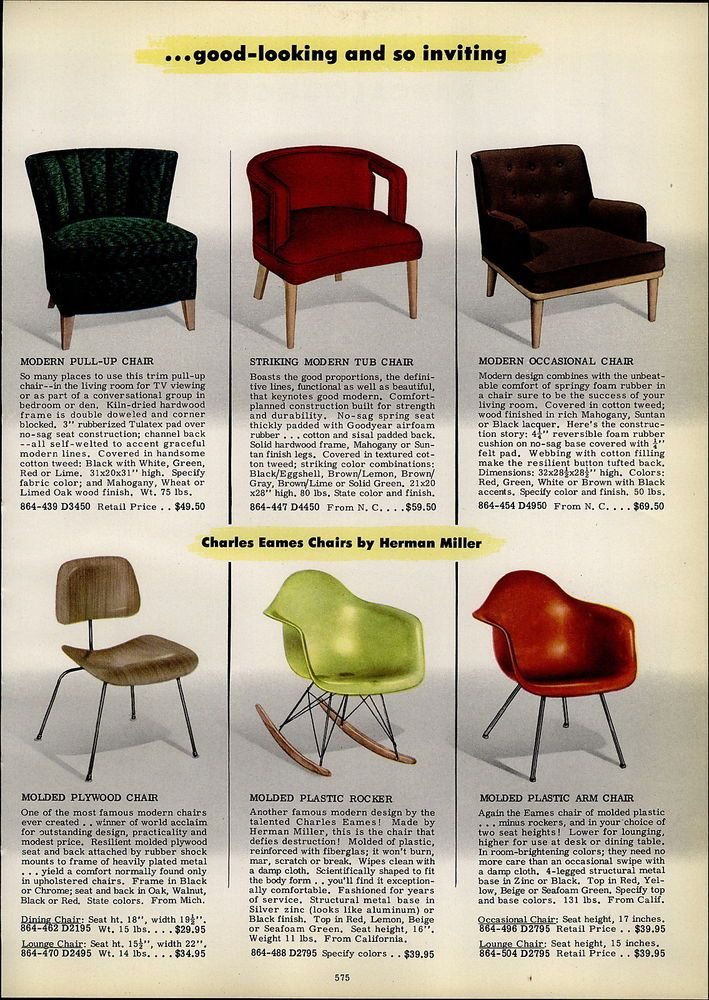1954 advertisement for Eames chairs by hermanmiller Vintage