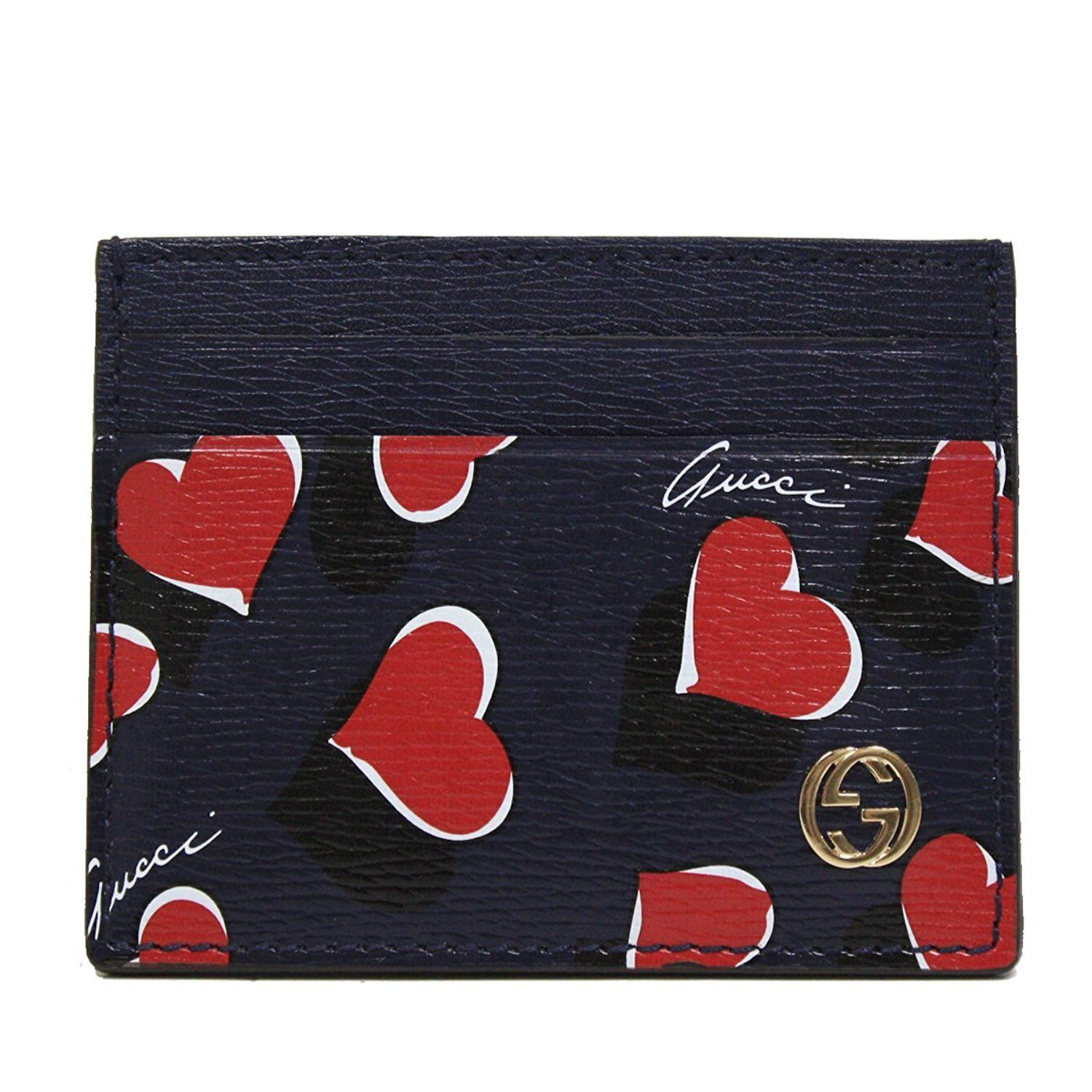 5f1d3ca1d3d Gucci Heart Heartbeat Collection Navy Blue Leather Business Card Case  Wallet 334483