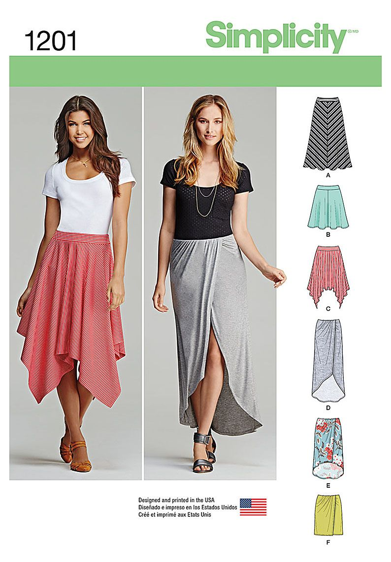 Stay comfortable and stylish with these pull-on knit skirts. Pattern ...