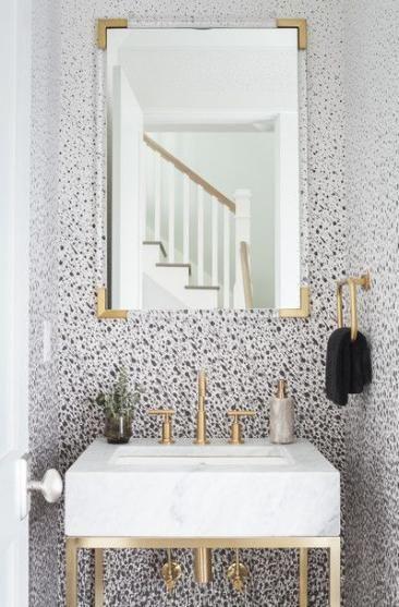 68 Best Ideas Bath Room Wallpaper Black And White Half Baths Bathroom Wallpaper Trends Black And Gold Bathroom Half Bathroom