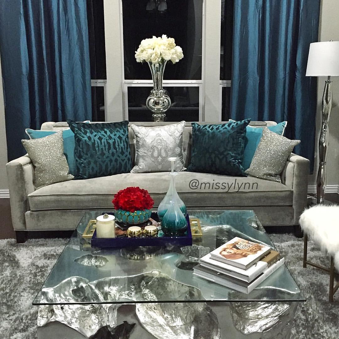13 5k Likes 205 Comments Missy Lynn Missylynn On Instagram Loving My Formal Glam Livin Glam Living Room Teal Living Room Decor Living Room Turquoise