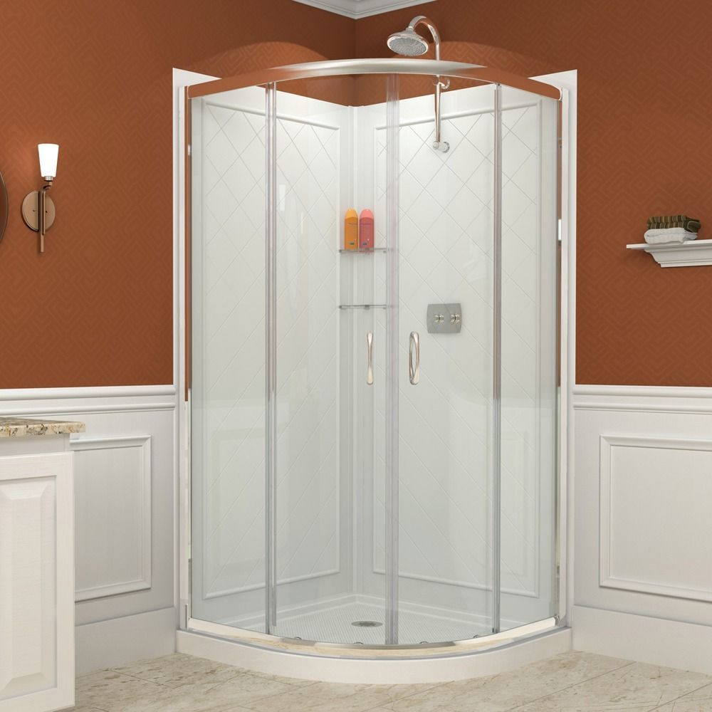 Dreamline Prime 38 In X 38 In X 76 3 4 In H Shower Enclosure Shower Base And Acrylic Backwall Kit 38 X 38 Frameless Shower Enclosures Shower Enclosure Shower Kits