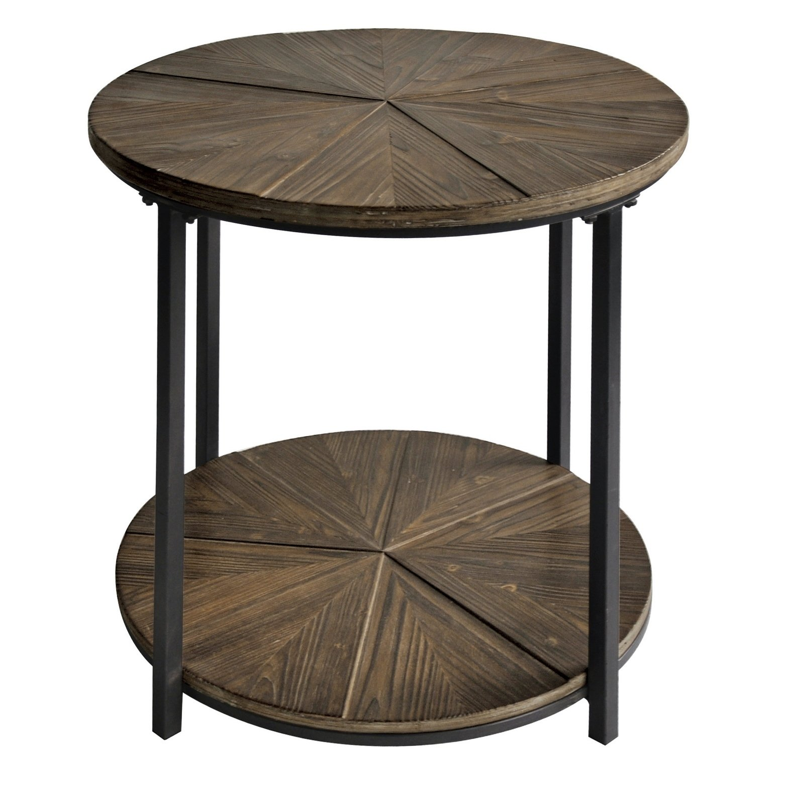 Jackson Metal And Rustic Wood Round End Table Black Wood End