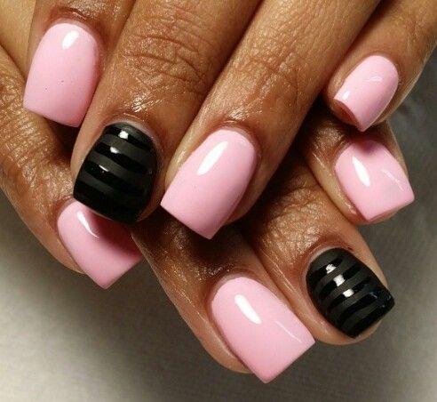 light pink  matte black accent nail  nail polish