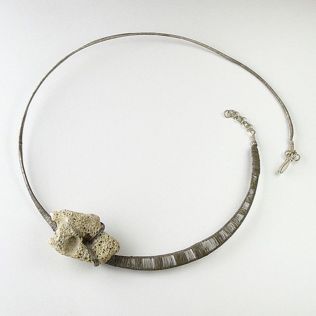 """Lena Franolic, """"continued subsistence"""" necklace.  Oxidised silver wire, stone found on a beach.  2010."""