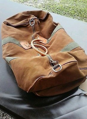 Vintage LL BEAN Brown Canvas Leather Bottom Duffle Overnight Bag ... acb6c82e971bc