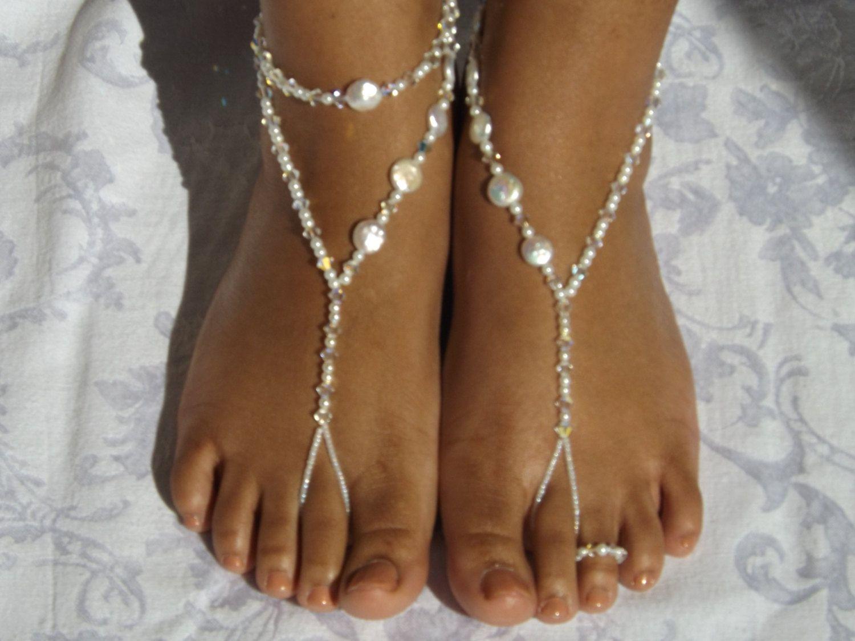 Foot Jewelry Pearl Swarovski Element Barefoot sandals Wedding