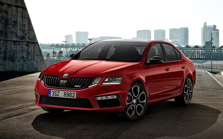 Download Wallpapers Skoda Octavia Rs 245 2018 Red Wagon Red