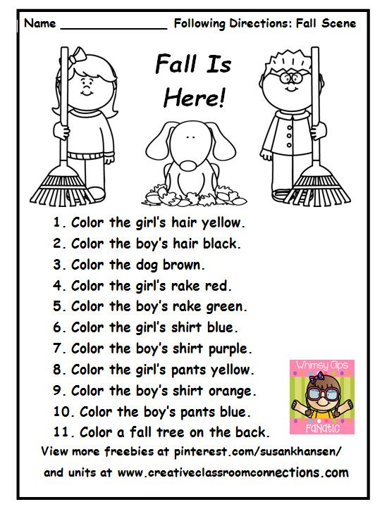 Following instructions worksheet first grade