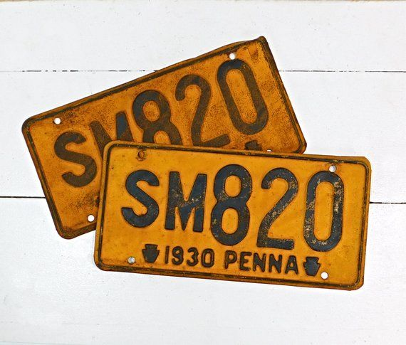 Vintage Pa License Plates 1930 Pennsylvania Front Rear Matching